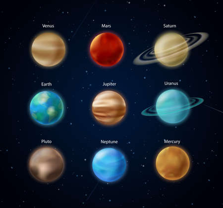 Solar system planets, science vector illustration. Realistic 3d sphere of Earth Mars Mercury Jupiter Venus Neptune Pluto Saturn Uranus with rings on night dark sky, infographic education background