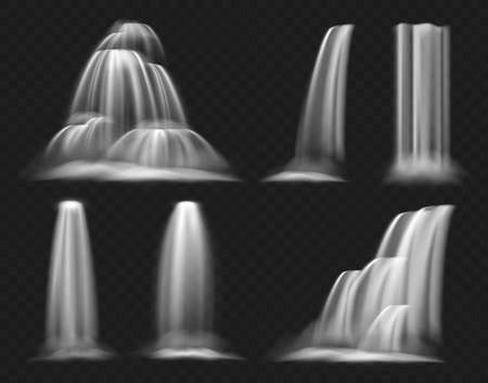Realistic waterfall vector illustration set, clear water stream of waterfall, geyser or fountain falling down, flowing and cascading with splashes, various shapes