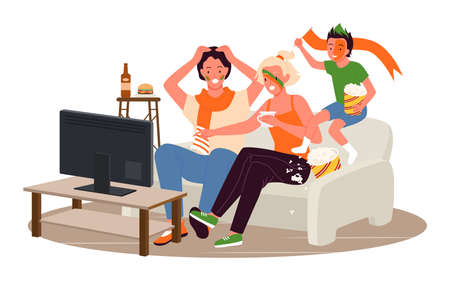 Family people fans watching soccer match tournament together vector illustration. Cartoon father mother and son child fans characters sitting on sofa to watch television during day isolated on white