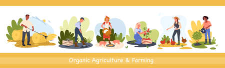 Organic agriculture countryside works and farming vector illustration set. Cartoon farmer worker man woman characters planting watering plants, picking up apples, feeding chickens and pigs background Illusztráció