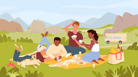 Cartoon urban cityscape with characters playing card game, drinking drinks and eating food from picnic bag together. Friends people on picnic party in summer city park landscape vector illustration
