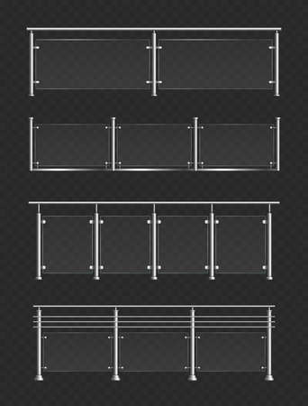 Glass handrail vector illustration set. Realistic 3d glossy balustrade or plexiglass barrier with metal steel hand rails, fence sections for modern terrace, stairway, house balcony on black background Illusztráció