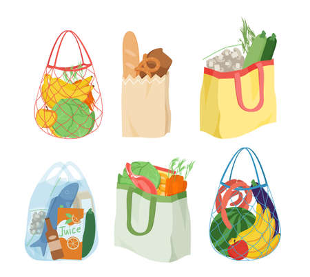 Cartoon eco reusable, paper or plastic bags with healthy fresh goods isolated on white. Shopping bags full of fruit, vegetables from grocery store, local market or supermarket vector illustration set Illusztráció