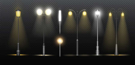 Lanterns on city street. Realistic classic alley lamppost collection with metal streetlights glowing with electric yellow and white lights, streetlamps on dark night background