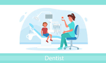 Cartoon dentistry doctor examination with woman medical worker and boy child isolated on white. Kid visits dental pediatric clinic for checkup teeth and gum health infographic vector illustration