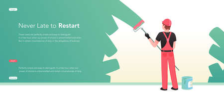Repair renovation service, decorator at work vector illustration. Cartoon painter worker character standing with roller and paint, decorator handyman craftsman working on wall decoration landing page Illusztráció