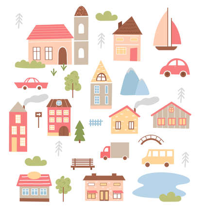 Cute town houses vector illustration set. Cartoon tiny home brick funny buildings of city or village, various geometric small houses collection with green trees, cars boats and fence isolated on white Illusztráció