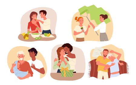 Couple people spend happy time together at home, harmony and love set vector illustration. Cartoon lover characters standing, hugging and smiling, cooking food, sleeping in bedroom isolated on white
