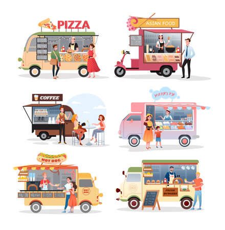 Street market food truck vector illustration set. Cartoon van stall marketplace mini cafe selling pizza asian food burger ice cream hot dog fastfood and coffee drink collection isolated on white