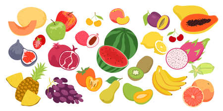 Cartoon fruity collection with strawberry orange apple pineapple banana peach isolated on white. Fruits food set, fresh organic summer seasonal products for agricultural market vector illustration Illusztráció