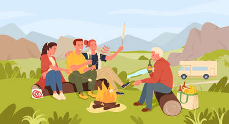 Friends people cooking marshmallow, camping in summer landscape vector illustration. Cartoon young happy woman man characters sitting by campfire, spend fun time together, active lifestyle background