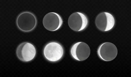 Moon eclipse, different phases astronomy infographic. Lunar eclipse full cycle in scientific transparent background, realistic moonlight in stages from full moon to thin moon