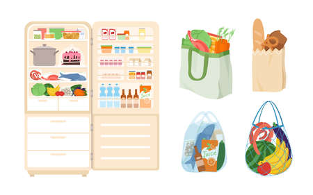 Cartoon fridge with open door, storage of healthy products for cooking at cold temperature isolated on white. Refrigerator, bags full of food from grocery store or supermarket vector illustration set