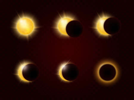 Solar eclipse in different phases infographic vector illustration. Total and partial solar eclipse in full cycle, realistic sun glow and sunshine ring in different stages scientific poster background Stock fotó