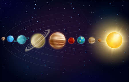 Solar system planets vector illustration. 3d universe galaxy Earth, Mars Mercury, Saturn Uranus with orbits, Jupiter Venus Neptune planets in astronomy galaxy space education infographic background Stock fotó