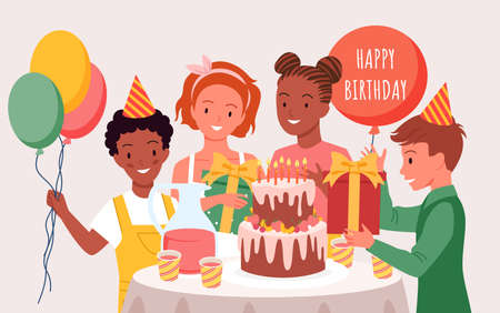 Happy birthday party with cute children, celebration day vector illustration. Cartoon kids have fun together, girl boy child characters in holiday hats celebrate, holding gifts and balloon background