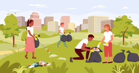 People cleaning dirty city park, nature save, ecology rescue vector illustration. Cartoon young volunteer characters team working, activist picking, collecting plastic trash garbage background Illusztráció
