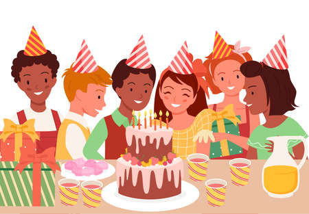 Kids celebrate birthday party, fun celebration vector illustration. Cartoon happy children in holiday hats, young characters sitting at table with birthday chocolate cake and candles isolated on white
