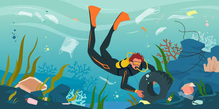Scuba diver cleaning sea ocean water from plastic trash pollution vector illustration. Cartoon dirty underwater scenery with man collecting garbage, car tire, plastic bottle and paper box background