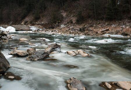 pine creek: Winter landscape on a mountain river Stock Photo