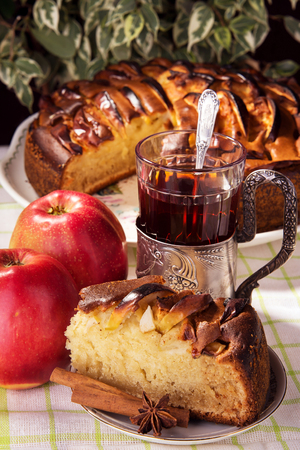 morsel: Tasty morsel of apple pie on a plate Stock Photo