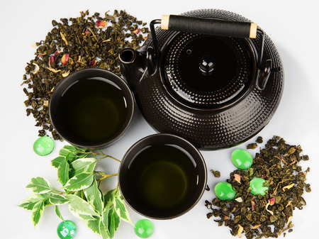 tea hot drink: Green tea set on white background Stock Photo