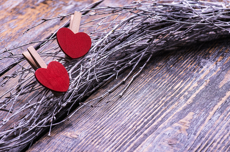youthfulness: Valentines Day background with two hearts