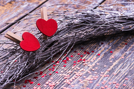 recollections: Valentines Day background with two hearts