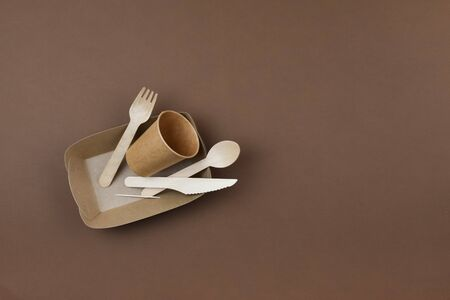 Zero waste, environmentally friendly, disposable cardboard, paper tableware. View from the top. 版權商用圖片
