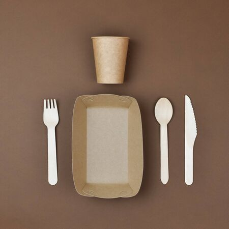Zero waste, environmentally friendly, disposable, cardboard, paper tableware View from the top