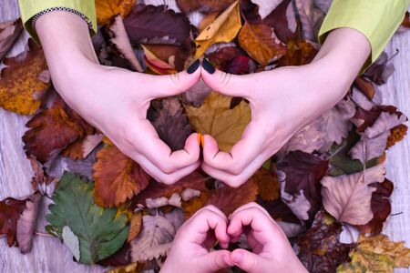 Female hand with beautiful autumn manicure and a childrens hand on a background of colorful autumn leaves. View from above.