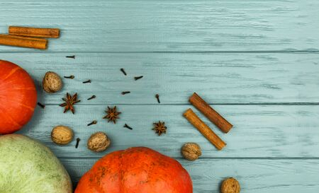 Orange and green pumpkins on a gray background with spices. Place for an inscription. Walnuts, cinnamon, anise, cloves. Фото со стока