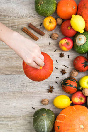 Female hand holds a pumpkin over the autumn background. Autumn background of pumpkins and fruits on a wooden background. Autumn background concept. Pumpkin, apples, lemon, nuts.