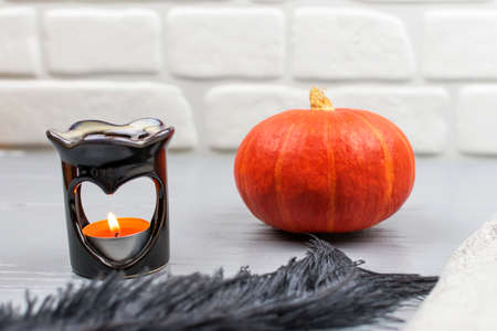 Orange pumpkin with black feather and heart shaped aroma lamp on gray wooden table. Scented candle. Autumn concept, comfort.
