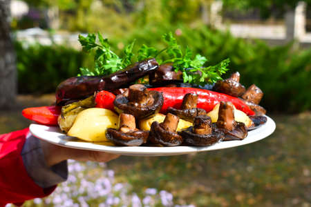 Fried vegetables cooked on charcoal on fire on a plate on a background of green grass.