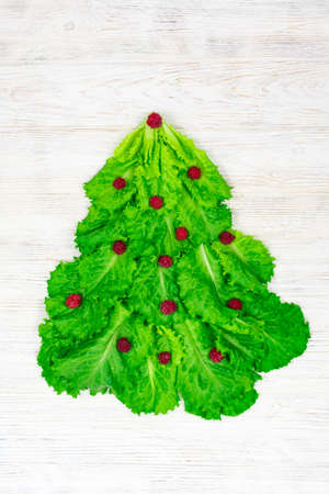 The Christmas tree is lined with green lettuce leaves, decorated with red raspberries on a white wooden background. Food for the New Year. Table decoration.