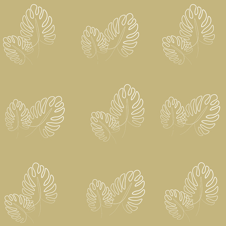 Golden palm leafs pattern vector illustration