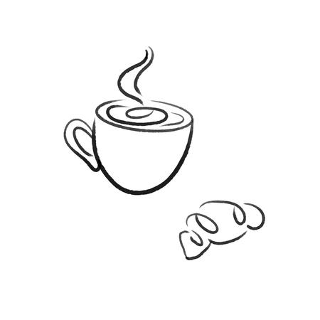 tea with croissant line illustration Ilustracje wektorowe