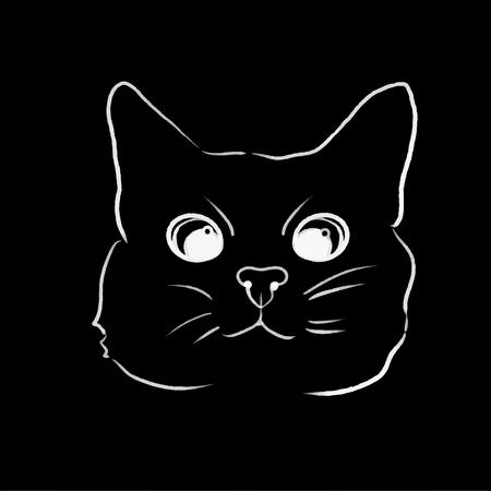 vector cat line illustration