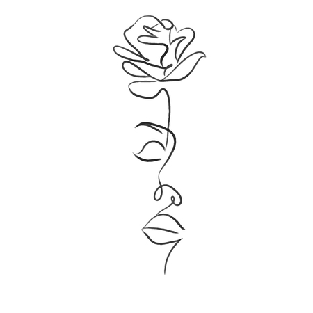 beautiful woman with rose one line draw vector illustration