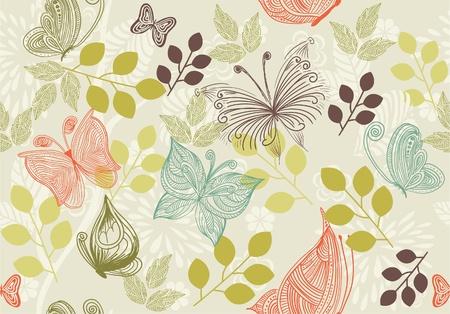 dessin papillon: r�tro fond floral avec des papillons Illustration