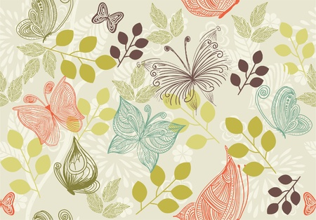 butterfly garden: retro floral background with butterflies  Illustration