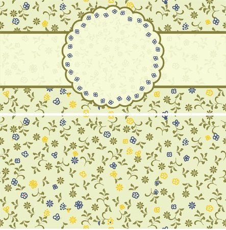 floral pattern with frame and seamless background  Illustration