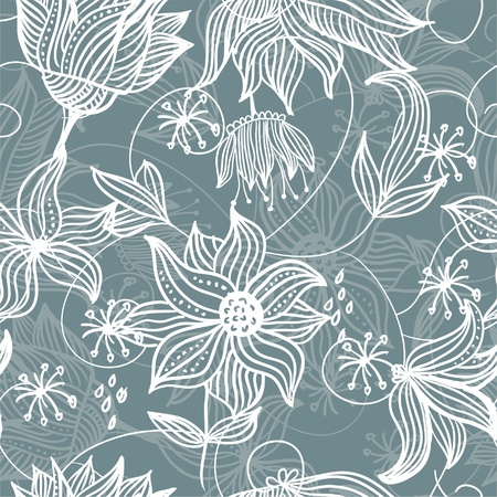 retro seamless vector texture with flowers  Illustration
