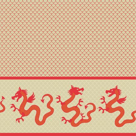 seamless horizontal pattern of the dragon  Vector