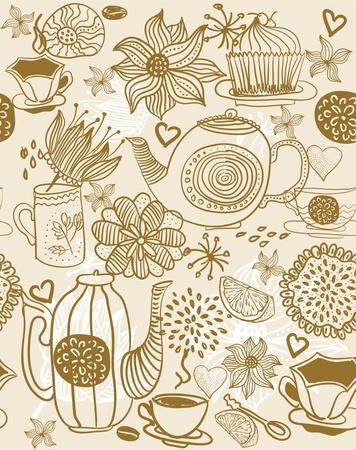 afternoon: fondo floral transparente con tazas y teteras