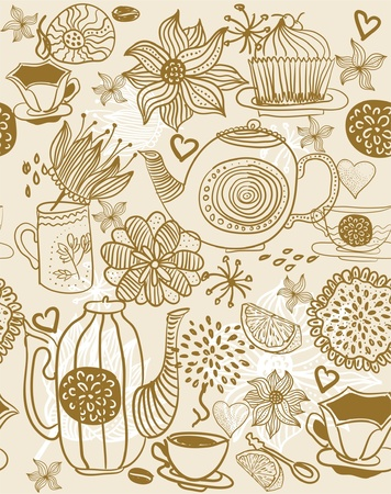 english breakfast: seamless floral background with cups and teapots  Illustration
