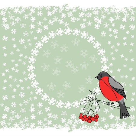 bullfinch: winter background with bullfinch