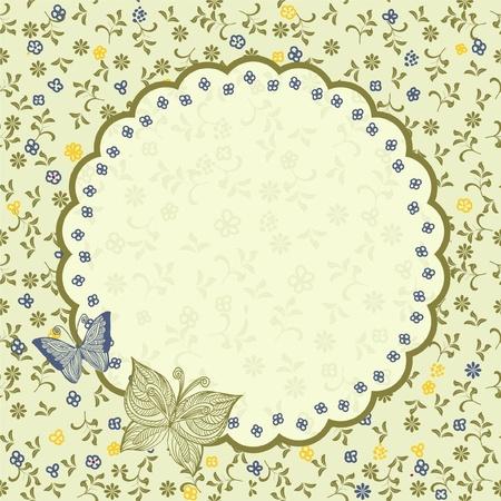 dibujo vintage: Tarjeta floral del vintage Vectores