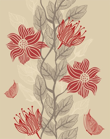 red floral: Seamless texture with flowers